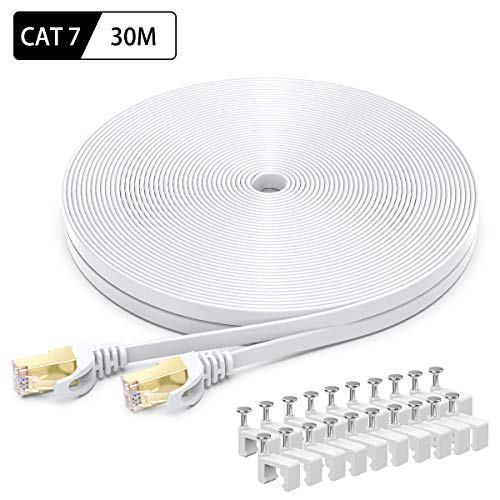 Cable Ethernet Cat7 de 30M, BUSOHE Cable de Red Plano RJ45 Gigabit LAN de Alta Velocidad, Cable de Conexión a Internet de 10Gbps y 600Mhz para Switch, Rúter, Módem, Panel de Conexión, PC (Blanco)