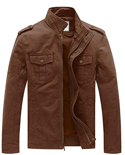WenVen Men's Spring Casual Zip up Pocket Cotton Jacket(Coffee,L)