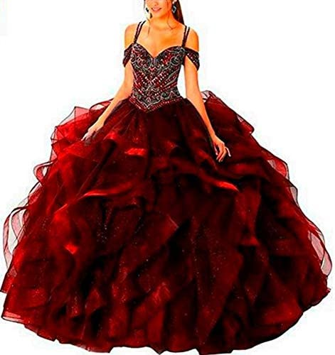 Yuki Isabelle Women s Beaded Bodice Corset Quinceanera Dresses Tiered Skirts Ball Gown Burgundy product image