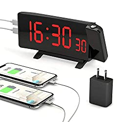 PEMOTech Projection Alarm Clocks for Bedrooms,【2020 Version】 7 Large Curved LED Display, 180° Rotation,Digital Alarm Clock Projection on Ceiling with Adapter & 2 USB Charging Port, 12/24H & Snooze