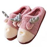 JLGY Pantuflas de felpa para mujer, cálidas, forradas, con cuernos, para invierno, antideslizantes, cómodas, de algodón, morado, 37 EU