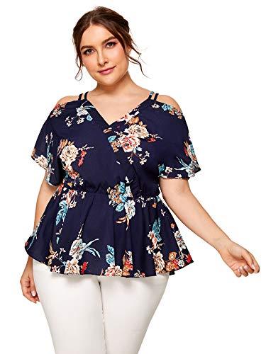 SheIn Women's Plus Size Short Sleeve Cold Shoulder Floral Peplum Top Blouse (XX-Large Plus, Navy Blue)