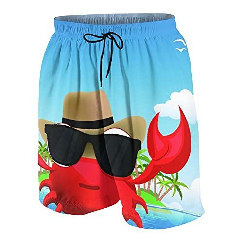 De Los Hombres Casual Pantalones Cortos,Crustáceo Fresco con Gafas de Sol Negras y un Sombrero Vacaciones de Verano en una Isla Tropical,Traje de Baño Playa Ropa de Deporte con Forro de Malla