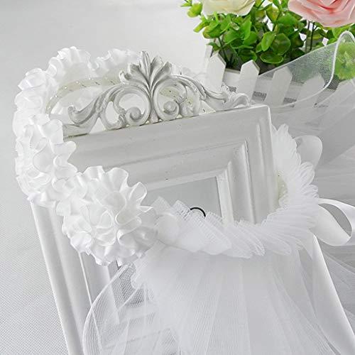 suoryisrty Femmes Fleur De Mariée Cheveux Guirlande avec Voile Blanc Guirlande Bandeau De Mariage Couronne Réglable Dentelle Up Ruban Bachelorette Partie Accessoire