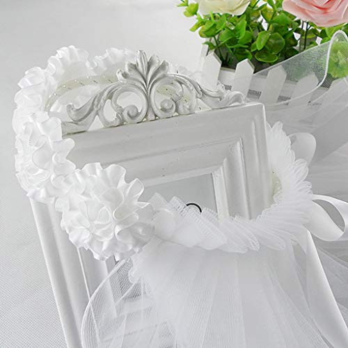 YO-HAPPY Rope Band, Women Bridal Flower Hair Wreath With White Veil Garland Wedding Headband Crown Adjustable Lace Up Ribbon Bachelorette Party Accessory