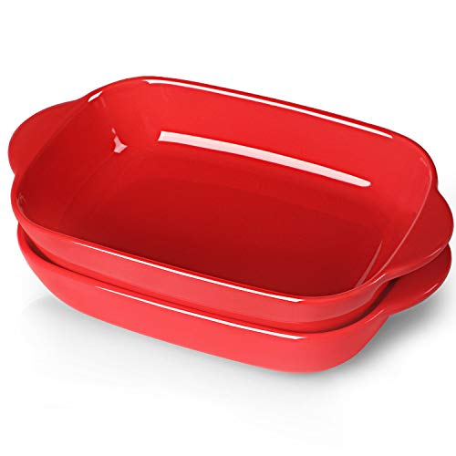 """LEETOYI Ceramic Small Baking Dish, Porcelain 2-Piece Rectangular Bakeware with Double Handle, Baking Pans for Cooking and Cake Dinner 7.5'×5.3"""" (Red)"""