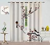 Decorazione per la casa, tende, stilizzato albero fiorito effetto pittura ad acquerello, design artistico, per camera da letto, trattamenti per finestre, 274,3 x 213,4 cm, colore rosa marrone