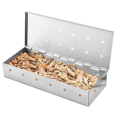 Räucherbox ,Räucherbox Gasgrill,Räucherbox Smoker,Räucherbox für Gasgrill,Räucherbox aus Edelstahl für BBQ,22x9.5x4cm,Grillzubehör,Smokerbox für Ein Tolles Aroma Beim Grillen,für Holzkohle/Gasgrill