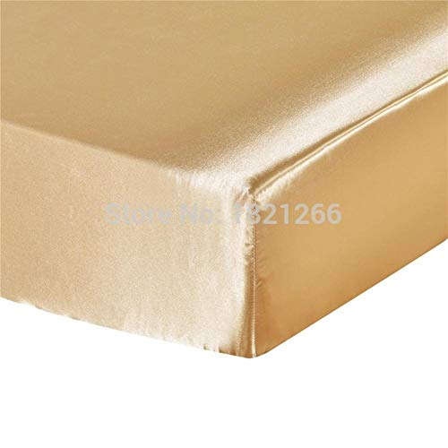 PENVEAT Super Soft Satin Silk Fitted Sheet Pillowcase Mattress Cover Bed Sheet Set Deep Pocket Fully Elastic Band Twin Full Queen King,Light Gold,UK Super King(3pcs)