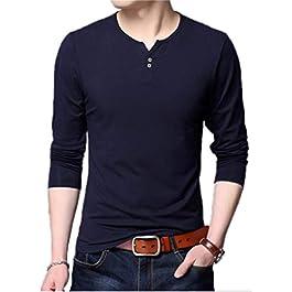 AIYINO Mens Casual Slim Fit Basic Henley Long Sleeve Fashion T-Shirt