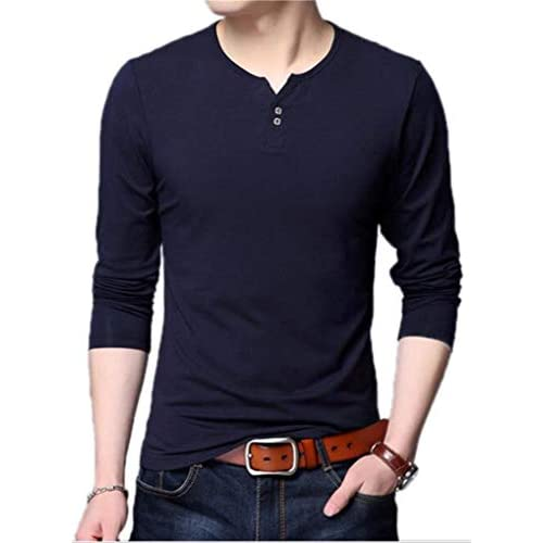 AIYINO Mens Casual Slim Fit Basic Henley Long Sleeve Fashion T-Shirt