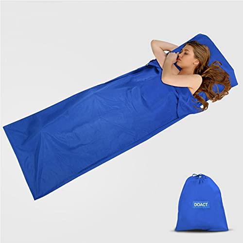 Forro para Saco de Dormir, sábana de Viaje y Acampada de algodón, Saco de Dormir Ligero para Acampar con Mochila,