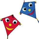 CIM Cometas - Happy Eddy [2er Set] - Happy Eddy Rot und Blau- por niños con Edad a Partir de 3 años - 65x72cm - Cordón y Cola de la Cometa incluidos