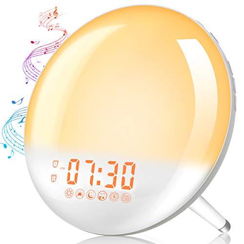 Lichtwecker Tageslichtwecker Wake Up Light mit zwei Alarmen Sonnenauf- und untergangssimulation, Snooze Funktion, FM Radio, 20 Helligkeit, 7 Wecktöne Wecker mit Licht für Erwachsene Kinder Elfeland