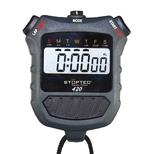 Stoptec Stoppuhr 420 - Digital Profi Stoppuhr mit Druckpunktmechanik   einfacher Batteriewechsel   Uhrzeit & Datum   spritzwasserfest
