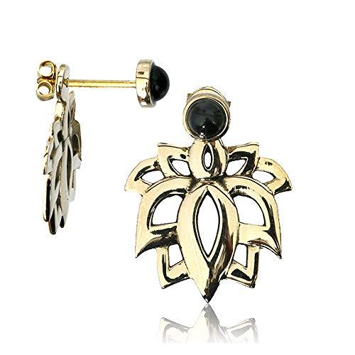 viva-adorno 1 par de pendientes dobles flor de loto ónix 2 en 1 pendientes de latón dorado chaqueta Z540