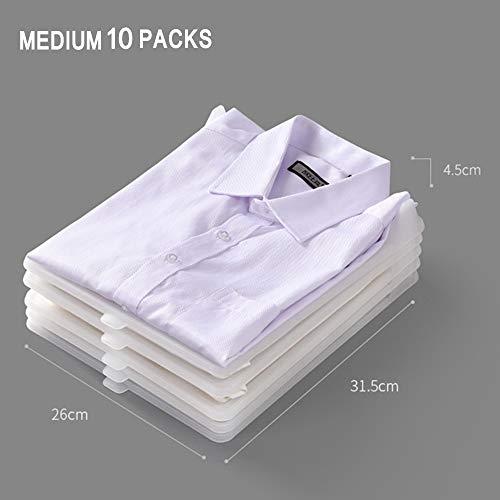 RUIQIMAO 30 paquetes de divisores de ropa para camisetas, organizador de armario, carpeta de camisa, organizador de ropa para almacenamiento de ropa y organizador de viaje para armarios Transparente