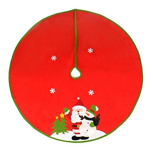 Gardeningwill Jupe de sapin de Noël avec motif Père Noël et flocon de neige Rouge 119,9 cm