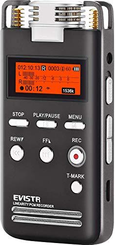 Registratore Vocale - Dittafono Digitale EVISTR 8GB. Alta qualità di registrazione dei suoni sino a 1536 Kbps PCM. Lettore Musicale MP3