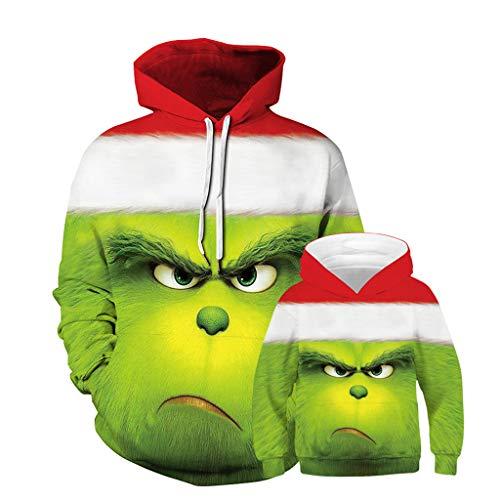 Felpa Grinch, Unisex Felpe di Natale Grinch e Cucciolo 3D Colorata Maglione Natalizio Famiglia Pullover Autunno Inverno Moda a Manica Lunga Maglione per Uomo Donna Ragazzo Ragazza (21,Adulto-M)