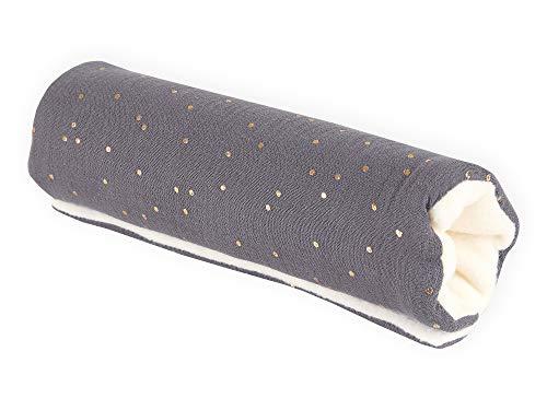 KraftKids Armschoner für Babyschale in Musselin goldene Punkte auf Grau, Tragegriff mit 28 cm Länge, Armpolster für angenehmes Tragen der Babyschale