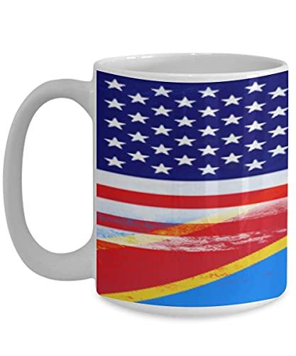 N\A USA Demokratische Republik Kongo Flagge Weiße Kaffeetasse Teetasse Amerikanisches Einwanderungsland
