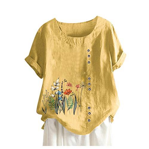 Frauen Jahrgang Blumen Tops Sommer Drucken O-Ausschnitt T-Shirt Zur Seite Fahren Beiläufig Tasten Bluse Hemd
