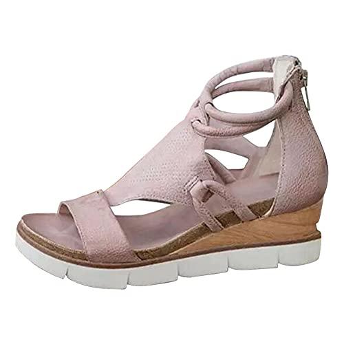 ERLINGO Sandalias de plataforma para mujer con puntera abierta, con cremallera, tacón de cuña, sandalias planas para mujer, cómodas y transpirables, color Rosa, talla 39 EU