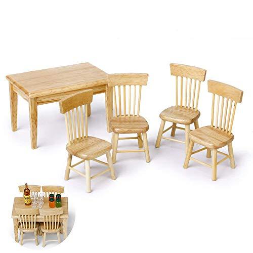 Apofly Puppenstubenzubehör 5pcs Miniatur Esstisch Stuhl Holzmöbel-Set Für 01.12 Puppenhaus - Holzfarbe