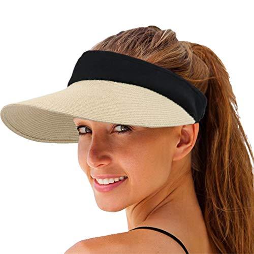 Women Straw Sun Visor Hat Wide Brim Summer UV Protection Beach Cap Foldable Packale Korean Style Beige