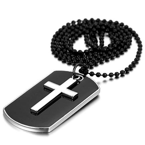 JewelryWe Joyería Collar Colgante Camiseta, Colgante, 70.5cm Cadena, Cruz Perro Militar plaquetas...
