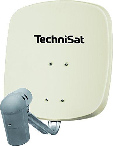 TechniSat SATMAN 45 - Satellitenschüssel für 2 Teilnehmer (45 cm Sat Spiegel mit Wandhalterung und UNYSAT-Twin-LNB im Wetterschutz-Gehäuse) beige