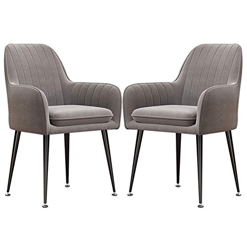 Dining Chair Cushioned Soft Seat Modern Dining Room Chairs Home Kitchen Furniture Velvet Dining Chair Armchair Black Metal Legs (Color : Gray, Size : 2pcs)