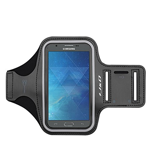 J&D Armband Compatible for Galaxy A10e/Galaxy J7 2017/J7 V/J7 Perx/J7 Sky Pro Armband, Sports Armband with Key Holder Slot for Samsung Galaxy A10e Running Armband, Earphone Connection While Workout