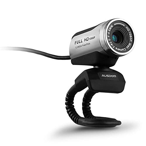 XTR Webcam Built-in Microphone with USB 2.0 for Laptop Live Broadcast Video Conference Work Computer Camera Ausdom AW615 1080P,Silver