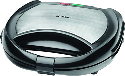 Bomann 613641 Sandwichera, gofrera y grill 3 en 1 con placas intercambiables, 650 W, Acero Inoxidable, Negro y plata