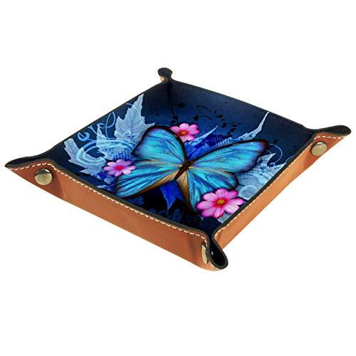 Bandeja de Cuero mariposa azul2 (1) Almacenamiento Bandeja Organizador Bandeja de Almacenamiento Multifunción de Piel para Relojes,Llaves,Teléfono,Monedas
