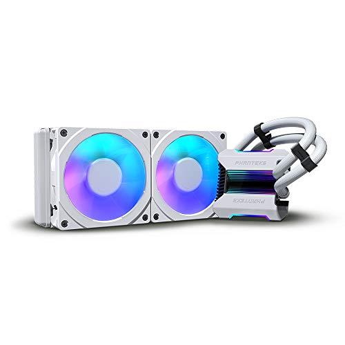 Phanteks (P-GO240MPH_DWT01) Glacier One 240MPH D-RGB AIO Liquid CPU Cooler, Infinity Mirror Pump Cap Design, 2X Silent 120mm MP PWM Fans, 2X D-RGB Halos Fan Frames, White