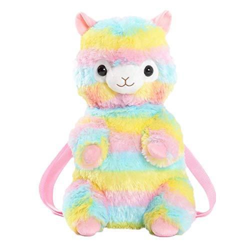 Basisago Regenbogen-Alpaka-Puppe Plüsch Alpaka-Rucksack Rucksack Schultertasche süße Alpaka-Stofftiere, Reise-Rucksack