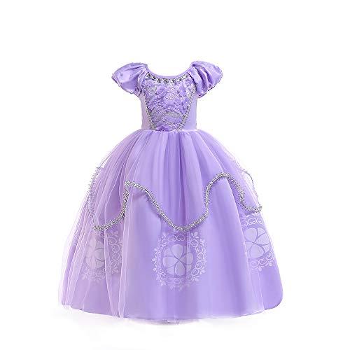 QZ Niñas Princesa Sofía Vestirse Vestidos de Fiesta de Disfraces para niños Vestir Fiesta de cumpleaños de Halloween Cumpleaños de Halloween Vestir Vestir de Noche 3-8 años,110CM