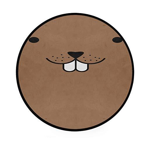 Vipsa Runder Teppich, 91 cm, Maulwurf-Gesicht, Polyester, rutschfest, für Wohnzimmer, Esszimmer, Schlafzimmer, Küche