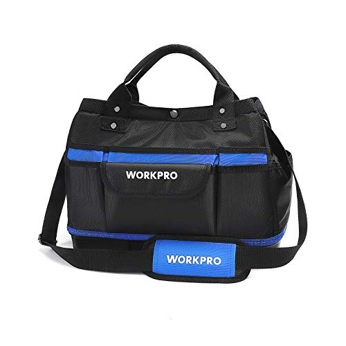 WORKPRO Garden Tool Bag, Top Open, Multi-use Garden Tool Tote with Adjustable Shoulder Strap and Waterproof Molded Base, 13 Pockets, 15-inch