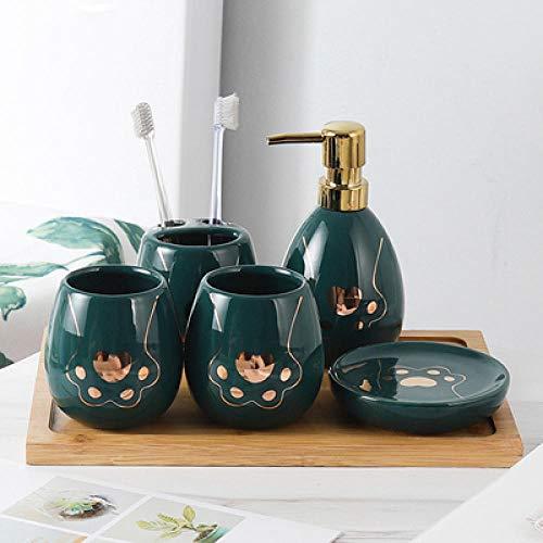 CZOOR Europese stijl badkamer vijf-delige schattige kat klauw patroon Lotion fles/tandenborstel houder/mondwater beker badkamer wash set
