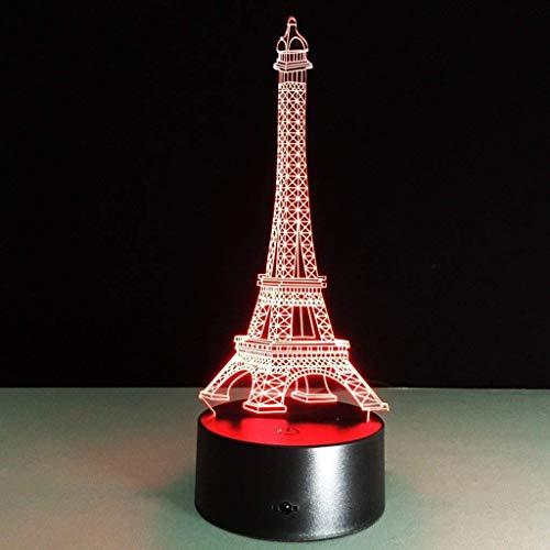 Shisyan Ilusión 3D romántica Francia Torre Eiffel dormitorio nocturna del color del cambio del botón del tacto del escritorio del USB LED lámpara de luz Mesa Luces nocturnas