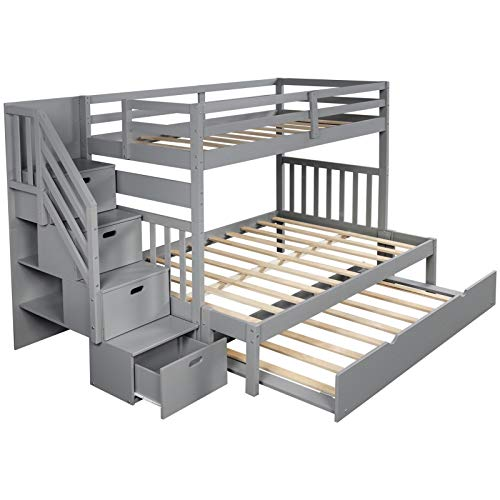 Pinewood Twin over Twin/Full Bunk Bed with Twin Size Trundle with a Four-Step Set of Stairs and the Upper Bunk Features a Full-Length Guardrail Suitable for Family Bedroom or Apartment Dormitory