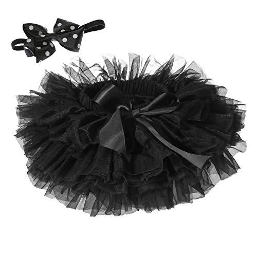 Baby Girls Tutu Skirt Headband Set Toddler Ruffle Tulle Diaper Covers 6-24 Months Black