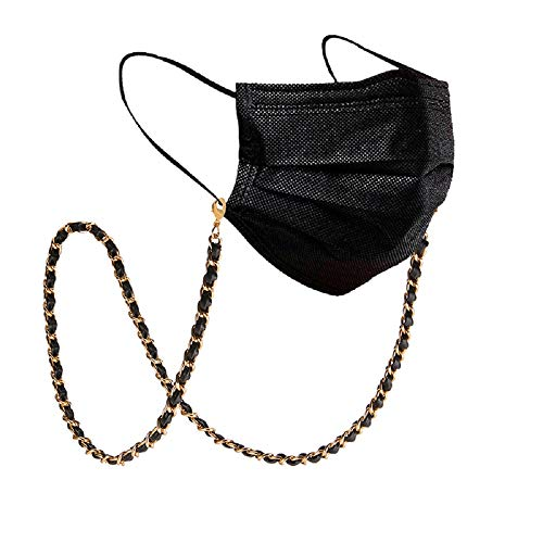 Ellavine 2 in 1 Maskenkette & Brillenkette - stylische Kette - veganes Leder - Maskenband Brillenband Maskenhalterung (Gold)