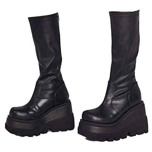 UMore Rodilla Alta Botas Mujer Tacón Bajo Zapato Señoras Nieve Botas Mujer Plataforma Botas de Cuero Piel Forrado Invierno Cálidas Antideslizante Hermoso Cremallera Casuales