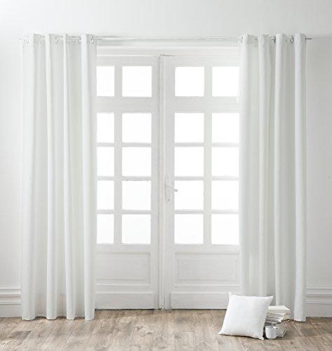 TODAY - Cortina con Ojales, algodón, 140x 250cm, algodón, Blanco, 140x250 cm
