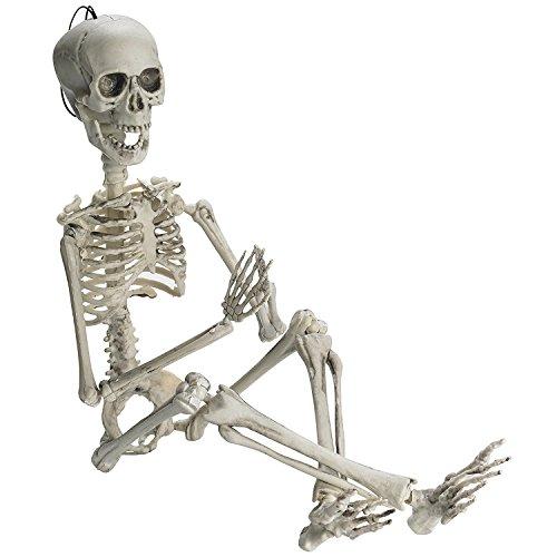 PREXTEX 48cm bewegliches Halloween-Skelett - Ganzkörperskelett mit voll beweglichen Gelenken & 2 Sätzen Körperzubehör für die Beste Halloween-Dekoration